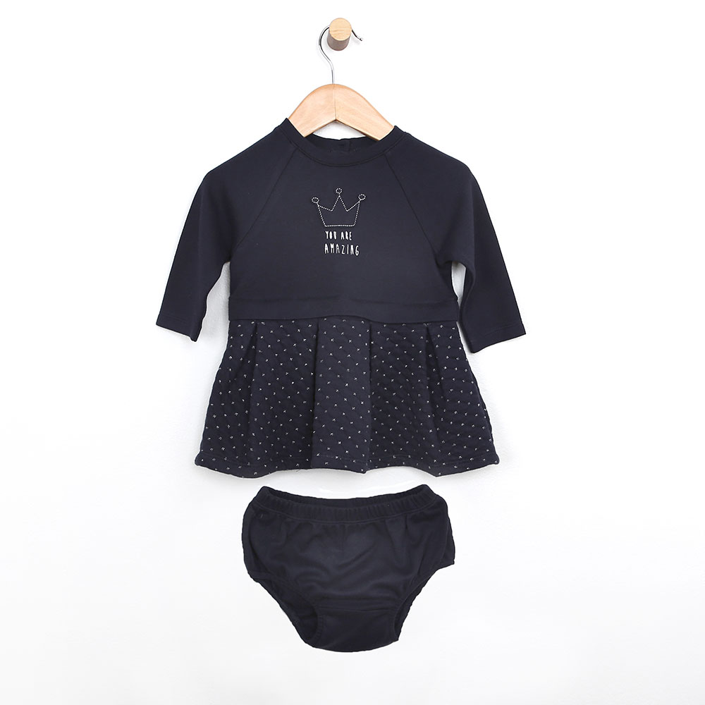 Quilted Dress & Diaper Cover, Navy, 18 Months from Robeez Footwear Ltd. Product Image